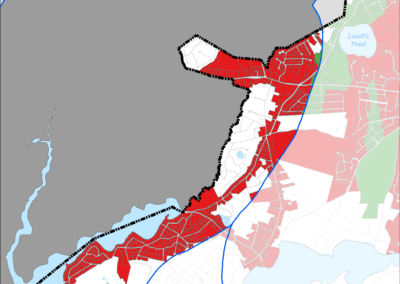 Figure 5-63: Parcels with Less than 4 feet Depth to Groundwater in Popponesset Bay Watershed