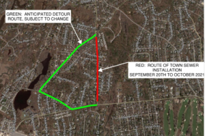 Satellite map of Strawberry Hill Sewer Project Road closure in Red and Detour in Green